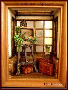 Banbini Picture habitación | Antigüedades inglés ♪ miniatura casa de muñecas completa de estudiantes de Jardín y Espacio