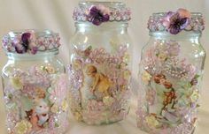 Idea - Make pretty and handy storage containers from old bottles or jars! :)