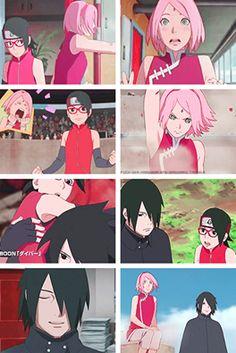 Sarada, Sakura y Sasuke
