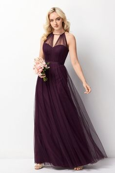 Size 14 Eggplant- Wtoo 242 is a floor length Bobbinet bridesmaid dress that has a sheer high neck with keyhole.