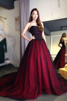 Prom Dresses A-Line, Burgundy Prom Dresses, Lace Prom Dresses, Prom Dresses Long, Lace Red Prom Dresses #PromDressesALine #BurgundyPromDresses #LacePromDresses #PromDressesLong #LaceRedPromDresses