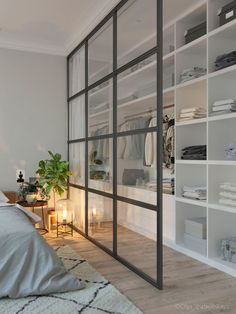 Home Interior Livingroom 71 Gorgeous Scandinavian Bedroom Decorating Ideas.Home Interior Livingroom 71 Gorgeous Scandinavian Bedroom Decorating Ideas Closet Bedroom, Home Bedroom, Bedroom Storage, Closet Wall, Bedroom Divider, Glass Room Divider, Room Dividers, Master Bedrooms, Mirror Bedroom