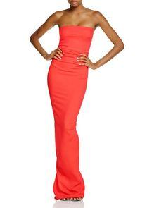 Nicole Bakti Ruffle Back Strapless Gown