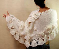Vacaciones en Roma / abrigo chal de Crochet blanco por lilithist