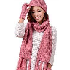 e52b37088ea 3 Piece Sets Knitted Winter Hats for Women  s Hat Scarf Glove Set Fashion  Twist stripes Cap Gorros Bonnet Wool Beanie Skullies.