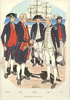 Continental Navy 1776 - 1777 - Lieutenant, Midshipman, Captain, and Seaman