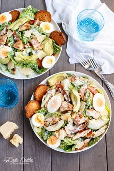 Cafe Delites | Chicken and Avocado Caesar Salad | http://cafedelites.com