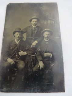 Antique Tin Type Group of Three Men 19th Century by PECollectibles