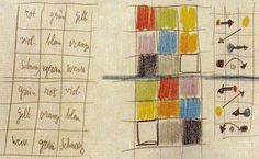 Diagram from Paul Klee notebook indicating with arrows for movement how your eye will follow colors ie. red to yellow.  Farbtafel Qu 1