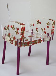 Shiro Kuramata, -- Miss Blanche Chair, 1988 // fleurs en papier… Acrylic Furniture, Funky Furniture, Handmade Furniture, Unique Furniture, Furniture Design, Furniture Stores, Furniture Websites, Furniture Outlet, Plywood Furniture