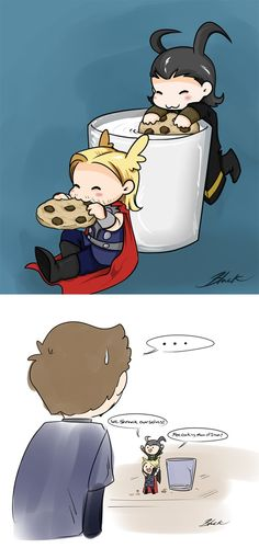 """If you can't see the last panel Loki says """"We shrank ourselves!"""" Thor said """"More cookies Man of Iron!"""""""