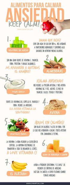 - Alimentos para calmar la ansiedad -  ¿Qué alimentos podemos comer para calmar la ansiedad?   #ansiedad #estrés #stress #platano #almendras #avena #citricos #getalinas #vegetales Loose Weight, Cantaloupe, Veggies, Fat, Shopping, Tips, Fitness, Almonds, Juices