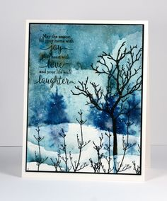 Stamps that can be used all year round are winners in my opinion and I am always happy to see new tree stamps to use in my stamped landscapes. The 'Joy to All' set contains a tree and some twiggy f...