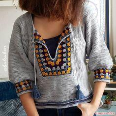 Crochet Dress Full Pattern and Tutorial - Craft & Patterns Crochet Granny, Crochet Stitches, Knit Crochet, Crochet Collar, Crochet Cardigan, Crochet Hippie, Knitting Patterns, Crochet Patterns, Pull Bebe