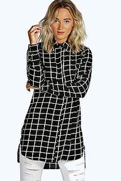 Lily Grid Check Longline Shirt