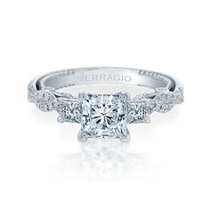 INSIGNIA-7074P engagement ring from the Insignia Collection, featuring 0.55ct. of princess and round brilliant-cut diamonds to enhance a princess cut diamond center. Available in Gold and Platinum. #princesscutring #PrincessCutDiamonds