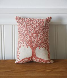 Red Tree Decorative Linen Hand Printed Pillow. $20.00, via Etsy.
