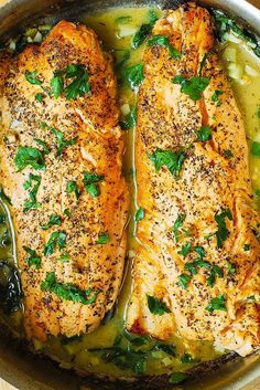 This trout with garlic lemon butter herb sauce looks like it'll melt in your mouth! And I bet you could substitute your favorite fish for the trout - such an easy, healthy, family-friendly recipe! trout with garlic lemon butter herb sauce looks like it'll Low Carb Dinner Recipes, Cooking Recipes, Healthy Recipes, Cooking Fish, Delicious Recipes, Cooking Pasta, Cooking Chef, Cooking Turkey, Whole30 Recipes