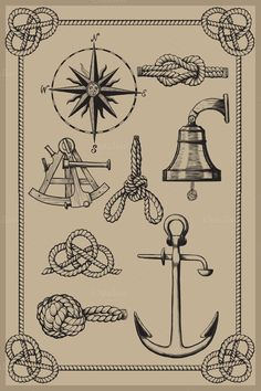 Check out Nautical elements on vintage backgro by sharpner on Creative Market Check out Nautical ele Nautical Design, Vintage Nautical, Nautical Theme, Nautical Clipart, Nautical Prints, Nautical Wreath, Nautical Cake, Nautical Star, Nautical Pattern