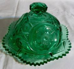 Vintgage Green Early American Pattern Glass by OnceUponATime4You