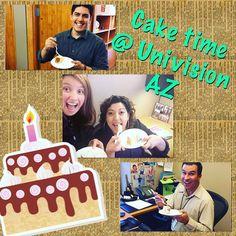 Momento de un buen pastel en @univisionaz Y tú que comes?
