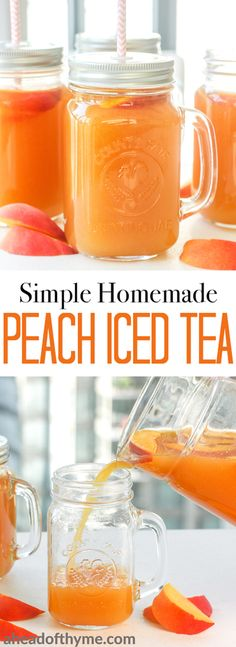 Simple homemade peach iced tea is the perfect summer drink. So refreshing, so peachy, so sweet and so perfect. | aheadofthyme.com via @aheadofthyme