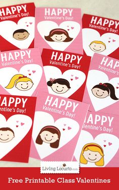 Free Printable School Valentine's Day Cards For Kids by LivingLocurto.com