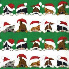 Christmas Peek a Boo Lunch Napkin http://www.ocado.com