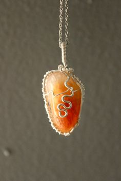 Orange Calcite Pendant Necklace Jewelry Wire by ParagonStones