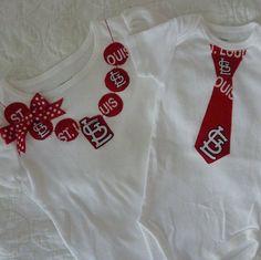 St Louis Cardinals MLB Baseball Tie Onesie / T Shirt by ThisPretty