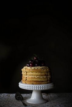 Brown Butter Maple Waffle Cake with Sorghum Meringue Buttercream / Local Milk