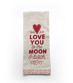 Valentine's Day Linen Hand Towel-Love You to the Moon