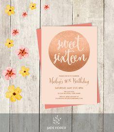 Rose Gold Sparkle Birthday Invitation DIY // by JadeForestDesign