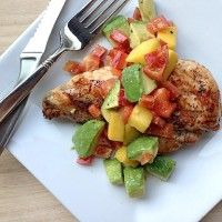 Grilled Chicken with Mango, Avocado Salsa - or add avocado to TJ's pineapple salsa.  Serve with broccoli mash or carrot fries.