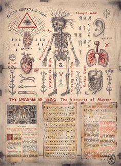 The Universe of Being (El Universo del Ser) por Daniel Martin Diaz Alchemy Art, Esoteric Art, Magic Symbols, Occult Art, Mystique, Art Graphique, Science Art, Memento Mori, Outsider Art