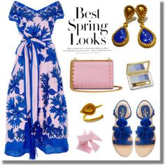 Floral Maxi Dress - Blue Pink- Evangelos Jewellery