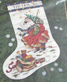 Dimensions The Gold Collection Windswept Santa Stocking Counted Cross Stitch Design By Peggy Abrams Holiday by Fraservalleyjewels on Etsy