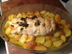 Rolo de cherne e gambas com batatas crocantes