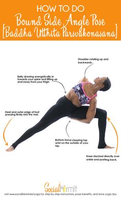 Extended side angle pose is a great pose for creating length in your side body; it's also a personal favorite to flow into from Warrior II pose. In this article, we'll be exploring how to take your Extended Side Angle Pose deeper with this guide on How to do Bound Side Angle pose and some of the benefits of this pose.