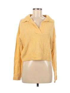 Pullover Sweaters, Spandex, Wool, Medium, Yellow, Sweatshirts, Blouse, Long Sleeve, Sleeves