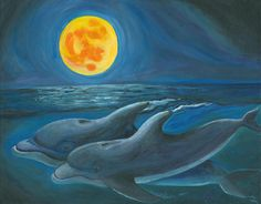 moon paintings | Dolphin Moon Painting by Bev Veals - Dolphin Moon Fine Art Prints and ...