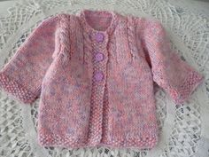 Knit Baby Girl Sweater 3 to 6 Months Antiallergic Yarn by Pitusa, $35.00