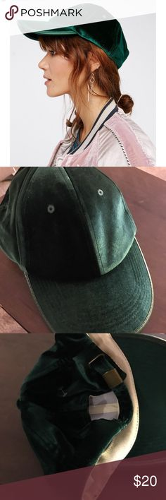 Free People Green Velvet baseball cap. Free People Green velvet baseball cap the rim is velvet as well never worn. Free People Accessories Hats