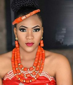 Awe-inspiring look. face beat by beads by Traditional Wedding Attire, African Traditional Wedding, African Wedding Attire, African Weddings, African Royalty, Coral Jewelry, African Beads, Wedding Jewelry Sets, African Fashion