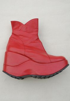 Red Leather 90's Shelly's Platform Boots UK 5 to 5 1/2 - Lovethebaroness vintage