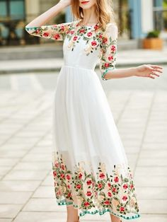 Product name: White Gauze Flowers Embroidered Dress at SHEIN, Category: Day Dresses