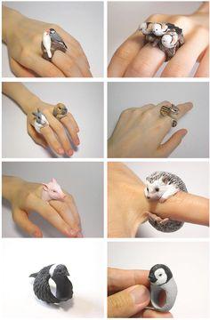 非常可爱的小动物戒指. 二师兄, 快到我手上来~(来自@建建了 的微博)