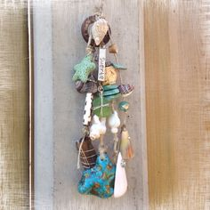 Seafoundings Necklace by SaZjewelry with seashells, driftwood, seaglass, sisal cord, beads and gems. Foundings come from Portugal, Menorca and Dutch beaches.