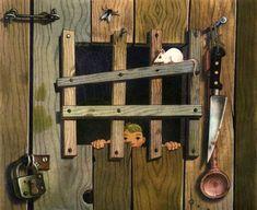 Hänsel & Gretel Illustration von Herbert Leupin 1944 Metzger, Household Budget, Retelling, Grimm, Fairy Tales, Illustration, Fairy Tail, Short Stories, Family Budget
