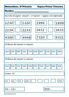 Mathematics sheets for Third of Primary - Learn Spanish Spanish Lessons, Learning Spanish, Kids Math Worksheets, Math Class, Math For Kids, Mathematics, Back To School, Homeschool, Teaching